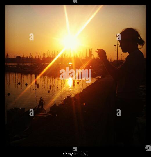 Sunrise Silhouette - Stock Image