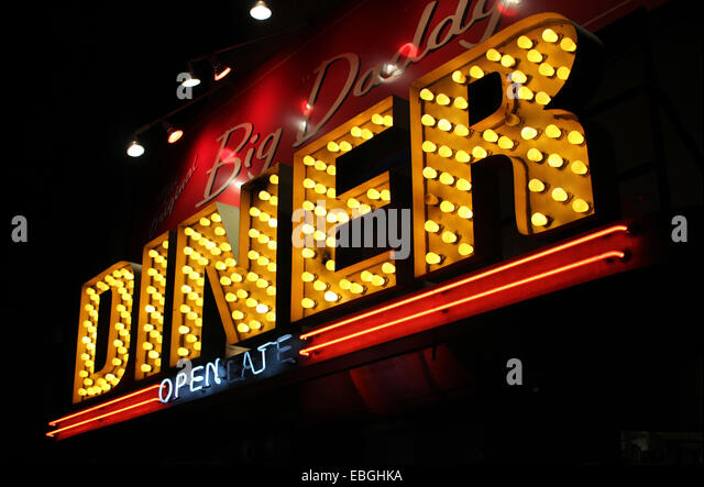 A jazzy sign of a traditional american diner in Manhattan, New York. - Stock-Bilder