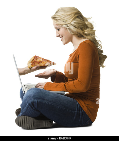 woman ordering pizza online - Stock Image