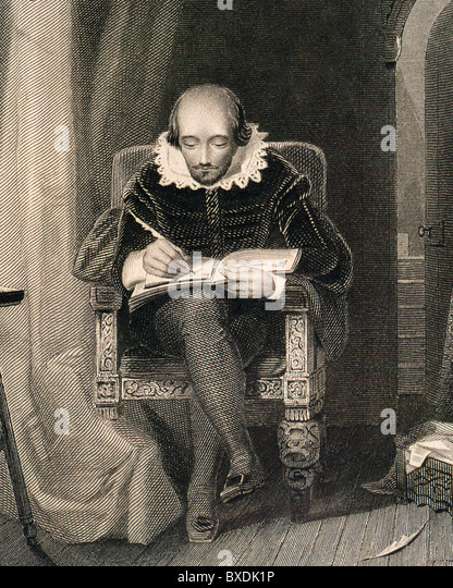 WILLIAM SHAKESPEARE in a 19th century engraving - Stock Image