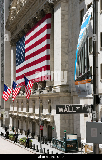 New York Stock Exchange, Wall Street, Financial District, New York City - Stock Image