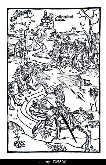 Woodblock illustration from Chronica Hungarae, fifteenth century german chronicle of Kingdom of Hungary - Stock Image