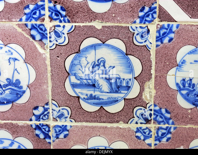 Bathroom detail, dutch tiles at Barrington Court, Ilminster, Somerset , UK TA19 0NQ - Stock Image