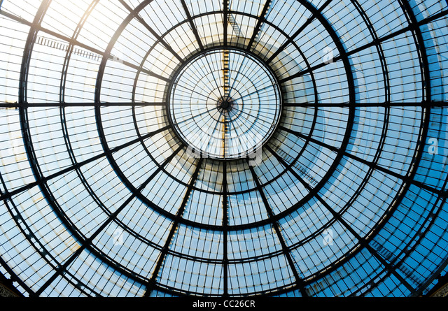 The old glass dome of Galleria Vittorio Emanuele II, Milan, Italy. - Stock Image