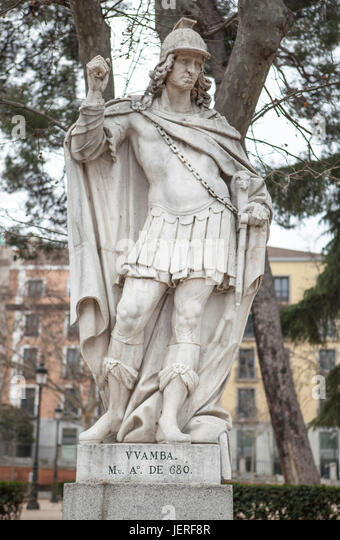 Madrid, Spain - february 26, 2017: Sculpture of Wamba at Plaza de Oriente, Madrid. He was a Visigothic King of Hispania - Stock Image