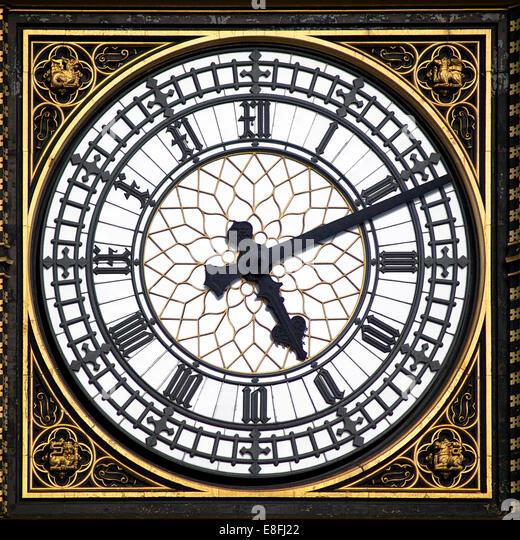 Big Ben clock face, London, England, UK - Stock Image