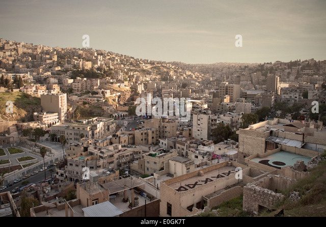 View of capital Amman at sunset, Jordan, Middle East, Asia - Stock Image
