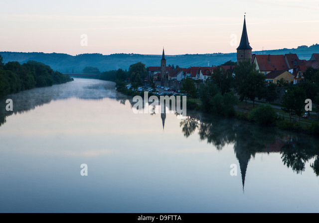The town of Karlstadt in the Main valley in the morning, Franconia, Bavaria, Germany - Stock Image
