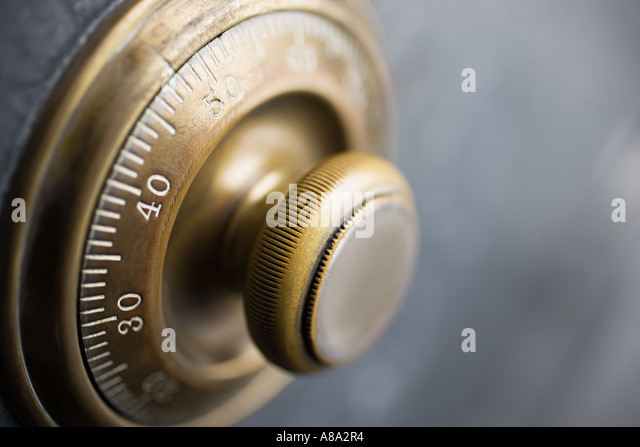 Dial on a security safe - Stock Image