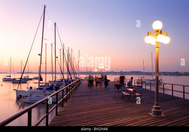 Colonia del sacramento yacht club, at dusk. Uruguay, South america. - Stock Image