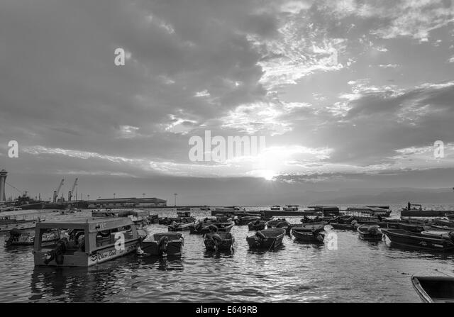 Harbour at sunset, Aqaba, Jordan - Stock Image
