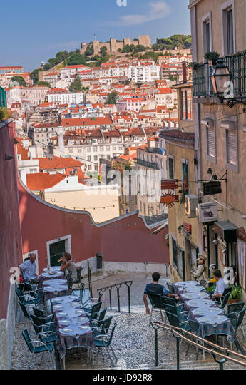 Restaurant and city view to castle Lisbon Portugal - Stock Image