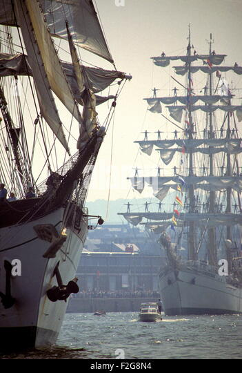 AJAX NEWS PHOTOS - JULY,1989. ROUEN, FRANCE - TALL SHIPS ON THE SEINE - VOILE DE LA LIBERTE - THE GERMAN SAIL TRAINING - Stock Image