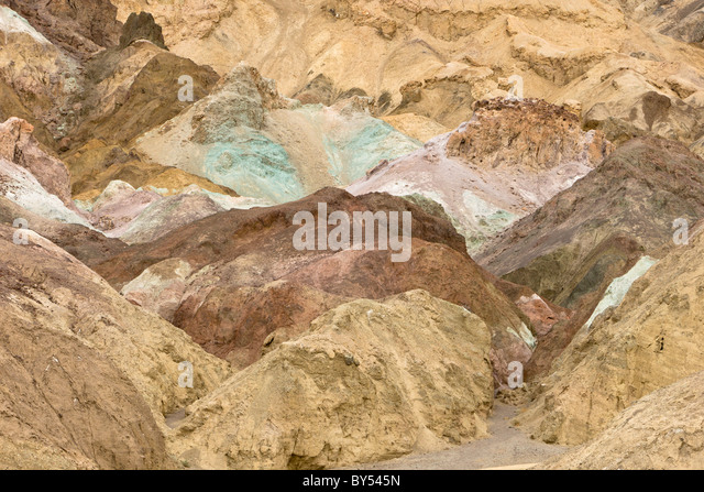 Oxidized minerals form the multicolored Artist's Palette along Artists Drive in Death Valley National Park, - Stock Image