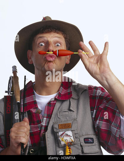 Angler, gesture, - float holds mb 108 A3 angling, Fischer under nose, portrait, studio - Stock Image