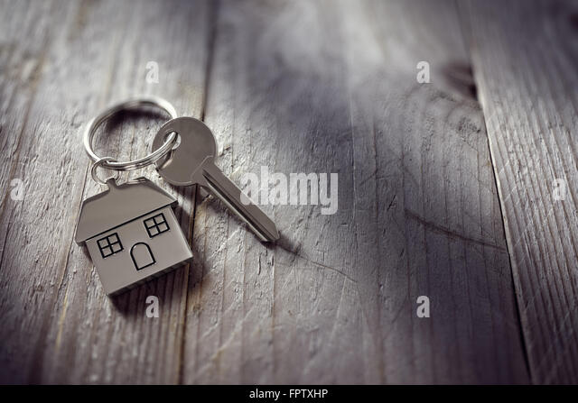 House key on keyring - Stock Image