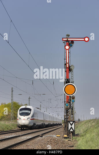 Train, intercity express, track, signal, - Stock-Bilder