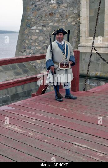 Extra standing guard at Fort Louisburg, Nova Scotia, Canada - Stock Image