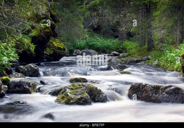 Waterfall in Sweden - Stock Image