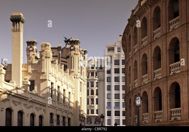 Plaza de Toros, toro arena,railway station , Valencia, Spain - Stock-Bilder