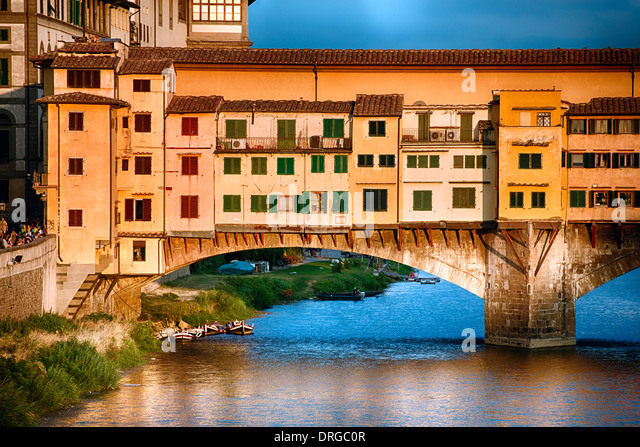 Close Up View of Ponte Vecchio Over the Arno River at Sunset, Florence, Tuscany, Italy - Stock Image