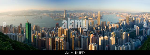 China Hong Kong city viewed from the peak - Stock Image