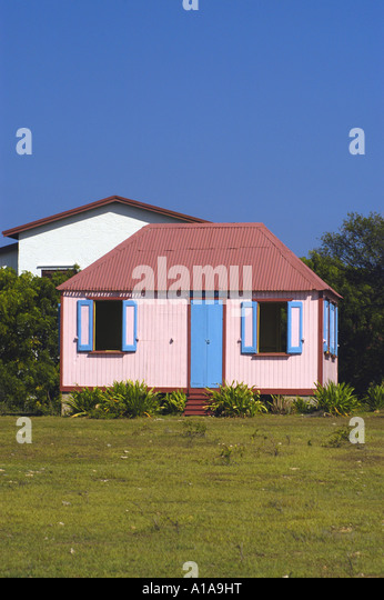 Anguilla traditional house colorful pink - Stock Image