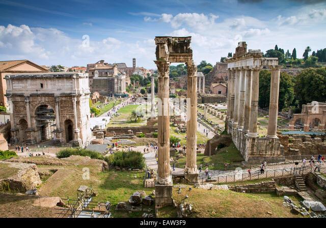 Roman Forum (Forum Romanum), Rome, Lazio, Italy, Europe - Stock Image