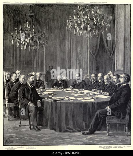 Peace commissioners after finalizing the Treaty of Paris, ending the Spanish American War. Dec. 10, 1898. It guaranteed - Stock Image