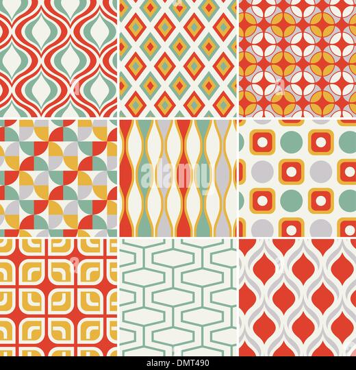 retro seamless abstract geometric pattern - Stock Image