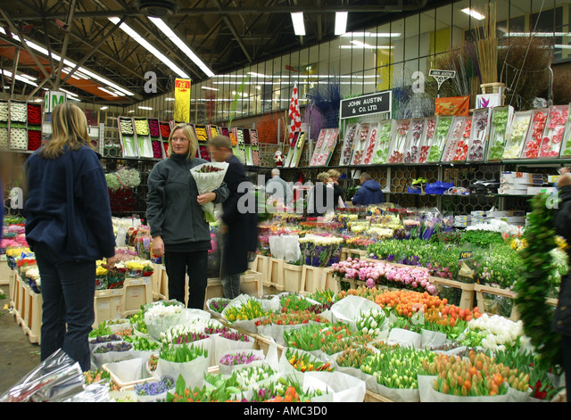 New Covent Garden Flower Market London England - Stock Image