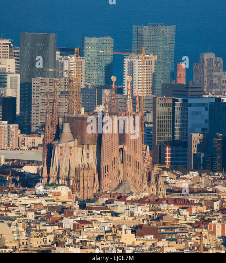 Barcelona, City, Cityscape, Sagrada Familia, church, Spain, Europe, aerial, agbar, architecture, Catalonia, fall, - Stock-Bilder
