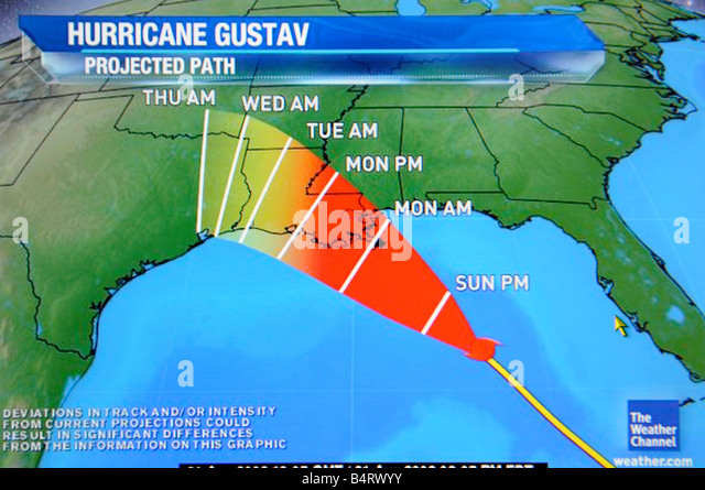 Hurricane satellite weather map as viewed on the internet and on TV television - Stock Image
