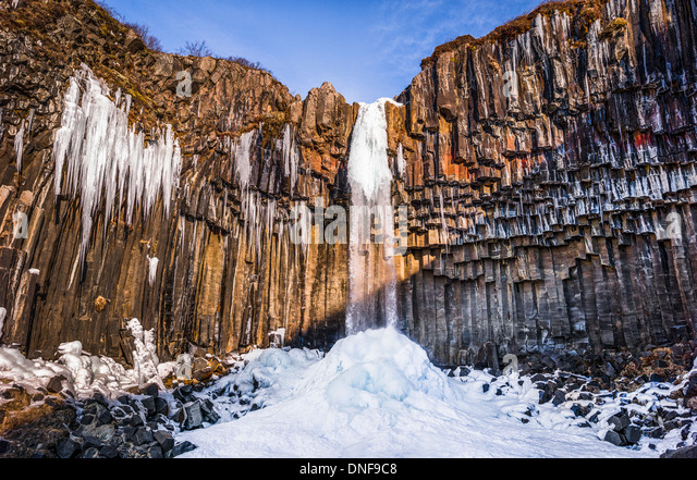 EUROPE ICELAND SVARTIFOSS WATERFALL TRAVEL - Stock-Bilder