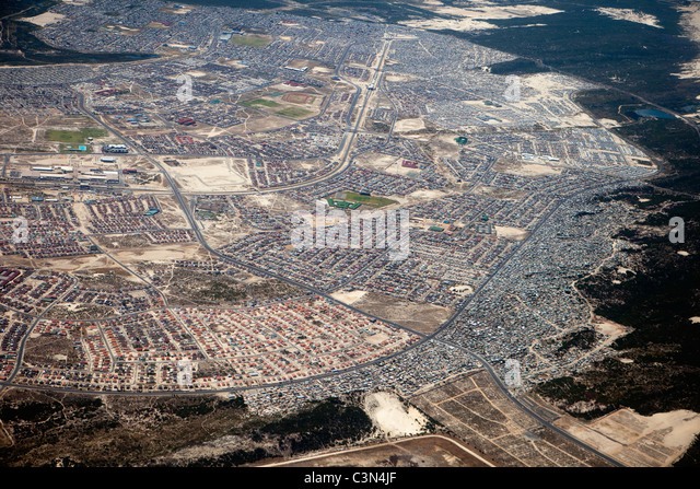 South Africa, Cape Town, Townships. Aerial. - Stock Image