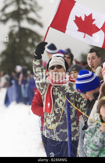 People celebrating Whistler British Columbia Canada ,callahan valley - Stock Image