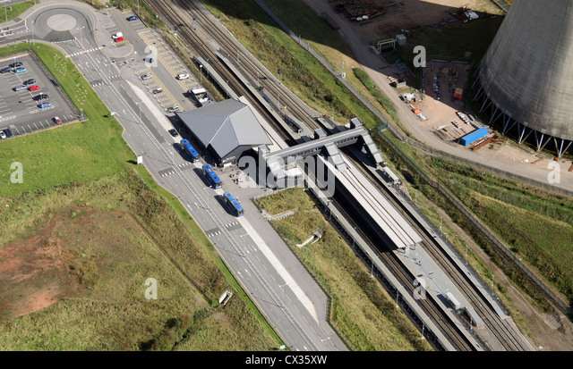 aerial view of East Midlands Parkway bus and railway station - Stock Image