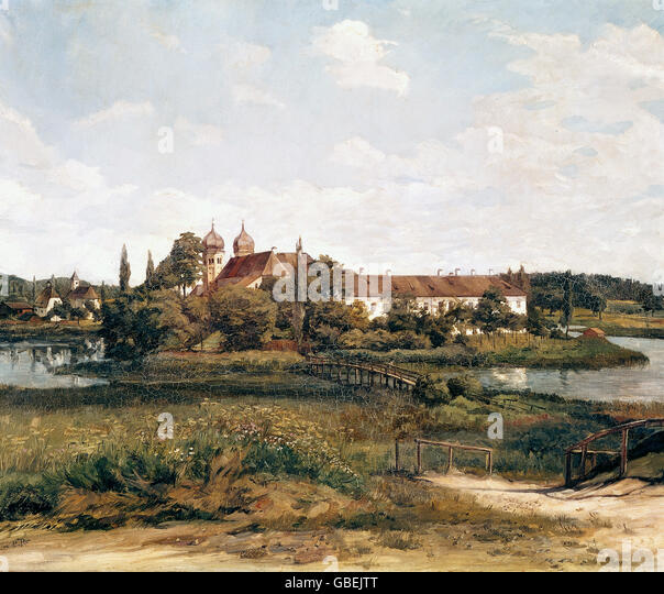 architecture, churches and monasteries, Seeon Monastery (994 - 1803), painting by Wilhelm Truebner (1851 - 1917), - Stock Image