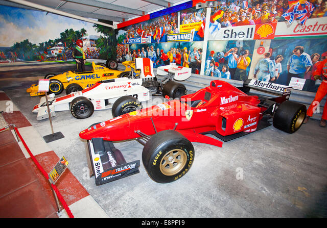 A selection of famous F1 racing cars in the Hall of Motor Sport at the Haynes International Motor Museum Sparkford - Stock Image