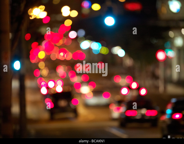 Blurred traffic at night - Stock Image
