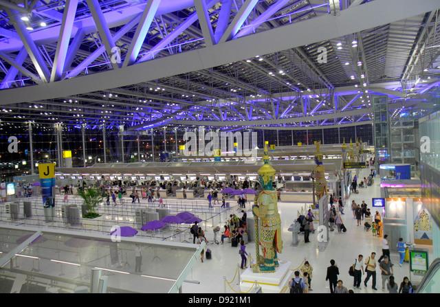 Bangkok Thailand Suvarnabhumi International Airport BKK terminal ticket counters check in architecture design - Stock Image
