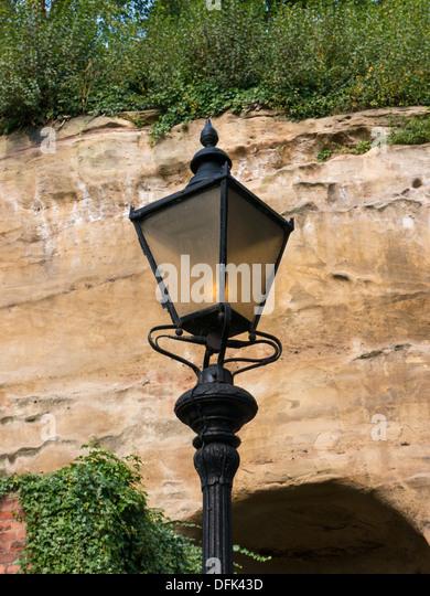 Traditional iron street light in Nottingham, United Kingdom, UK. - Stock Image