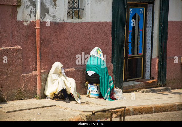 Two women, Kasbah, Algiers, Algeria, North Africa - Stock Image