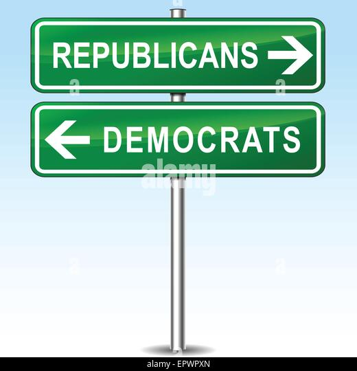 illustration of republicans and democrats directions signs - Stock Image