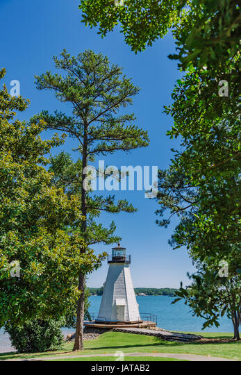 Lighthouse at Children's Harbor, on Lake Martin in Central Alabama, USA. - Stock Image