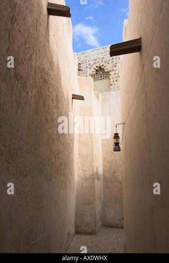 United Arab Emirates, Dubai, Narow lane in the old district of The Bastakiya - Stock Image