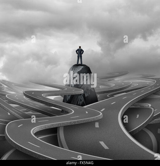 Lost business concept as a businessman standing on a rock with a group of twisted 3d illustration roads and pathways - Stock Image