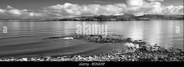 Black and white panoramic of Gruinard island, or anthrax island as it's also known, taken by A832 road, Wester - Stock Image