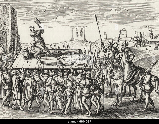 Punishments decreed by King Henry VIII against the Catholics - Stock-Bilder