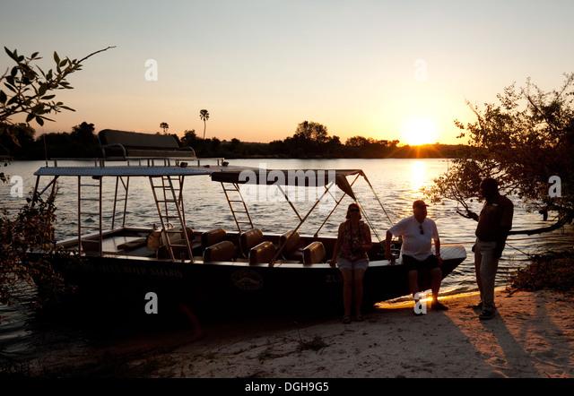 Zambezi River safari sunset cruise, Zambia, Africa - Stock Image